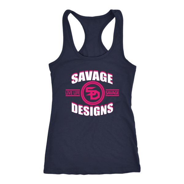 Savage Designs Dead Focus White/Hot Pink Tank Top- 8 Colors