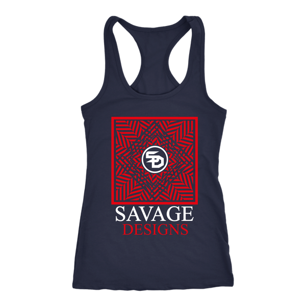 Savage Designs Optical Illusion Red/White Tank Top- 3 Colors