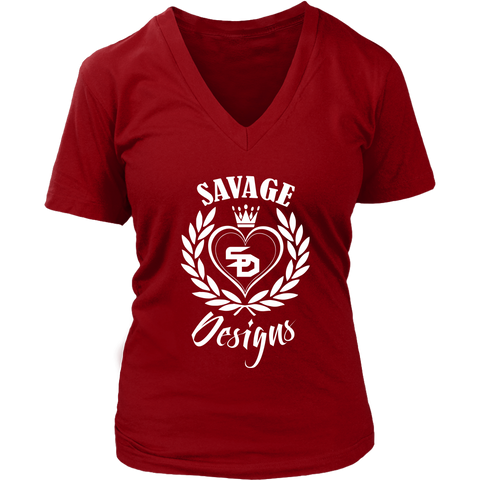 Savage Designs Heart of Hearts White V-Neck- 12 Colors