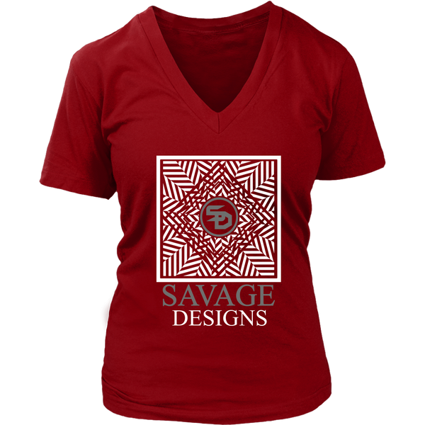 Savage Designs Optical Illusion White/Grey V-Neck- 6 Colors