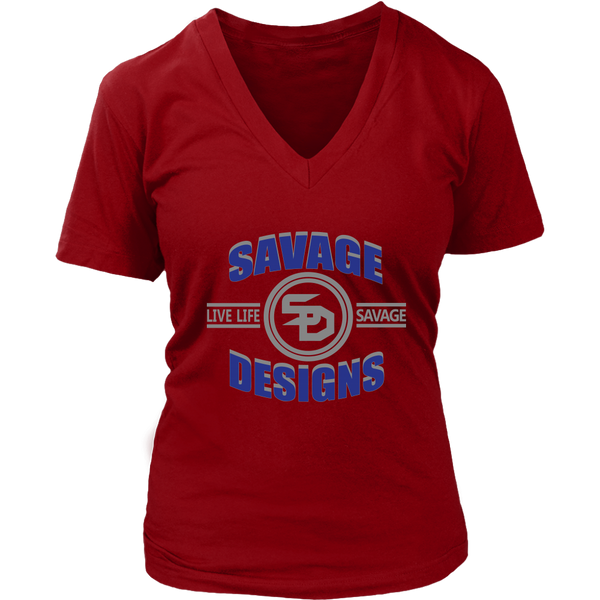 Savage Designs Dead Focus Royal Blue/Grey V-Neck- 4 Colors