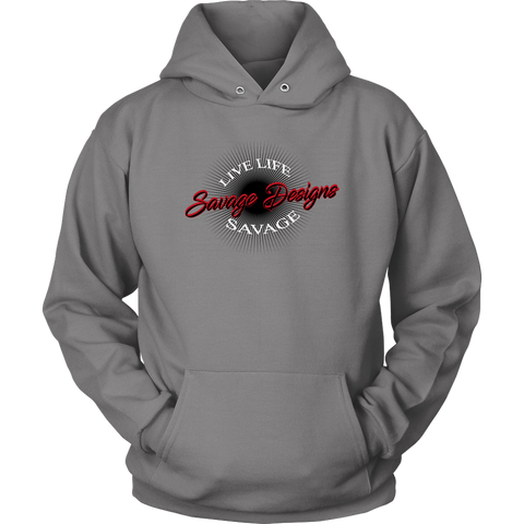 Savage Designs Sunray Flare Black and Red Hoodie- 7 Colors