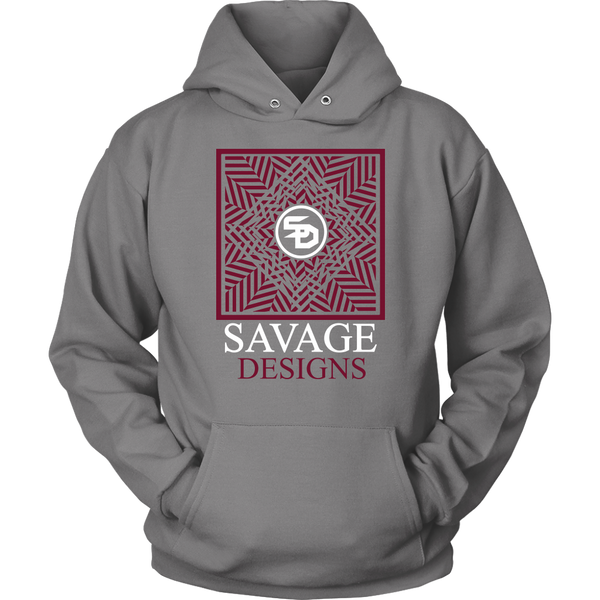 Savage Designs Optical Illusion Maroon/White Hoodie- 3 Colors