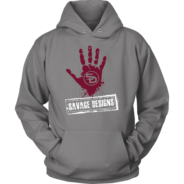 Savage Designs Handprint Stamp Maroon/White Hoodie- 3 Colors