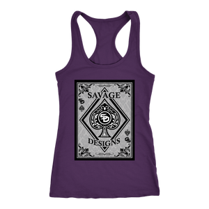 Savage Designs Ace of Spade Black/Grey Women's Racerback Tank Top- 6 Colors