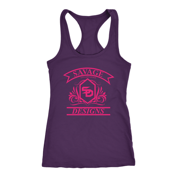 Savage Designs Diamond Floral Hot Pink Tank Top- 9 Colors