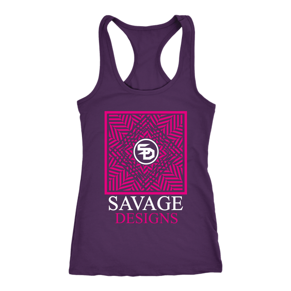 Savage Designs Optical Illusion Hot Pink/White Tank Top- 8 Colors