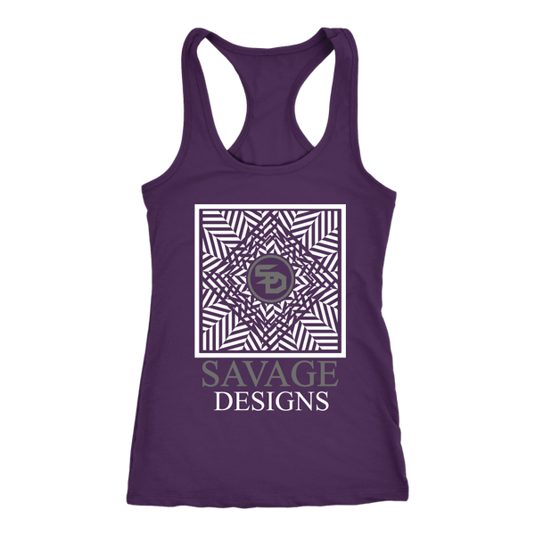Savage Designs Optical Illusion White/Grey Tank Top- 7 Colors