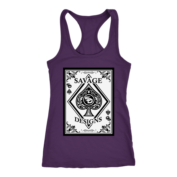 Savage Designs Ace of Spade White/Black Women's Racerback Tank Top- 6 Colors