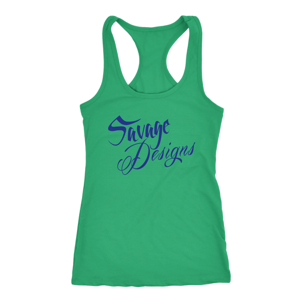 Savage Designs Cursive Script Royal Blue Tank Top- 9 Colors