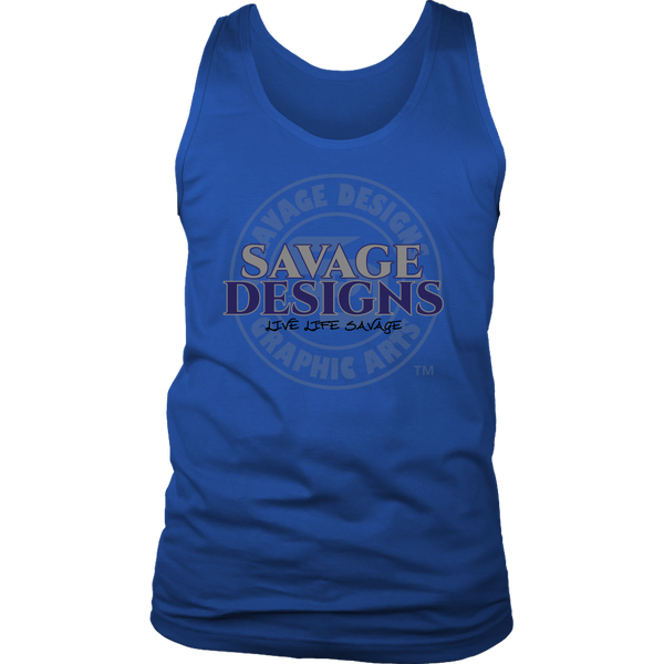 Savage Designs Faded Symbol Grey/Navy/Black Tank Top- 7 Colors