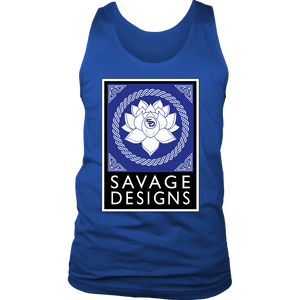 Savage Designs Lotus Flower Royal Blue/White/Black Tank Top- 8 Colors