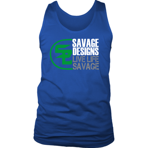 Savage Designs Sliced Up Green/White/Grey Tank Top- 9 Colors