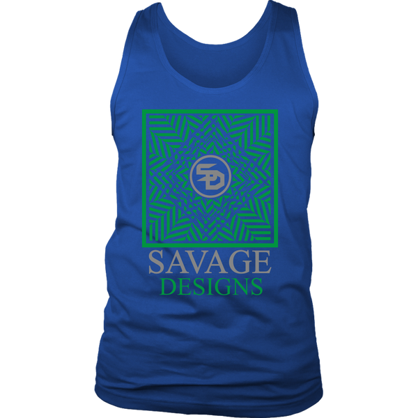 Savage Designs Optical Illusion Green/Grey Tank Top- 8 Colors