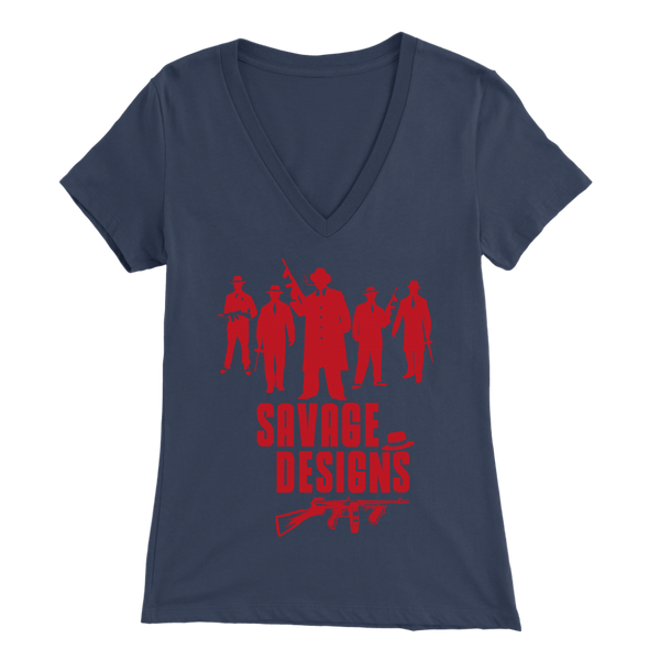 Savage Designs Mob Mafia Red V-Neck-