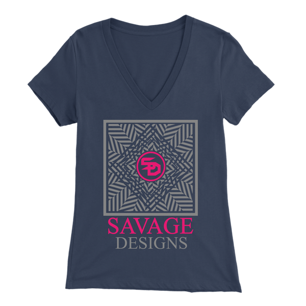 Savage Designs Optical Illusion Grey/Hot Pink V-Neck- 7 Colors