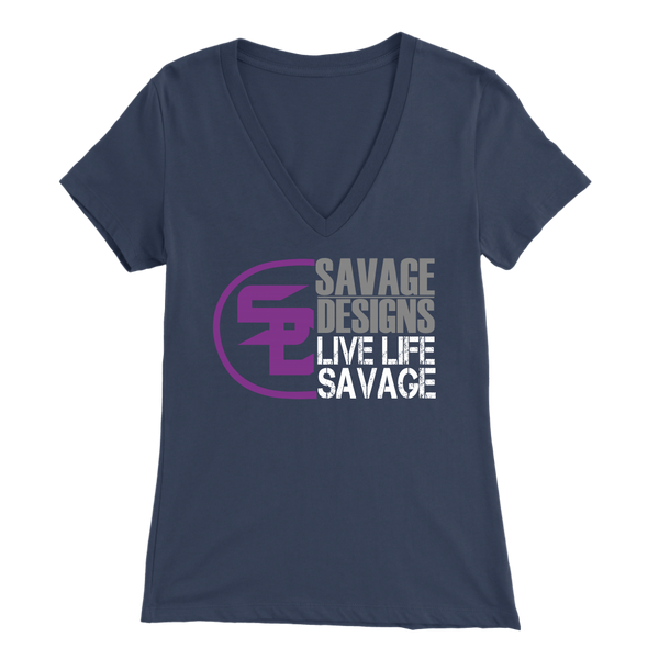 Savage Designs Sliced Up Purple/Grey/White V-Neck- 6 Colors