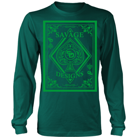 Savage Designs Ace of Spade Green Long Sleeve- 8 Colors
