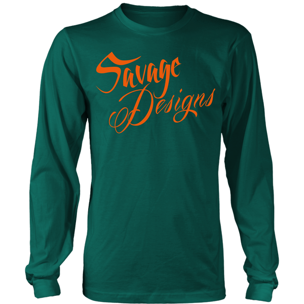 Savage Designs Cursive Script Orange Long Sleeve- 9 Colors