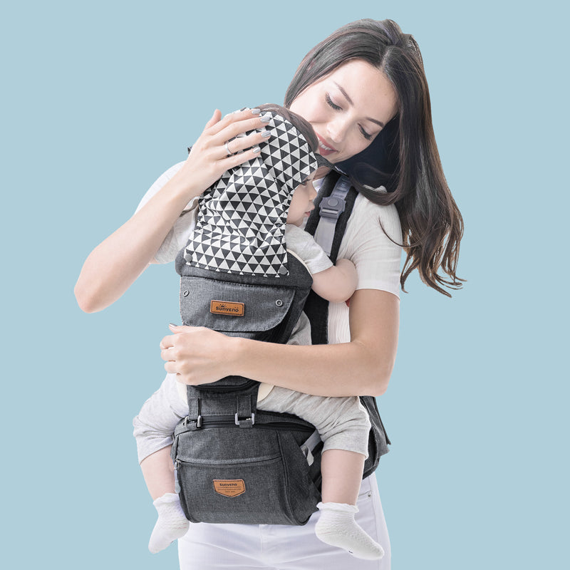 Sunveno Ergonomic All Seasons Front Back Baby Carrier with Hip Seat