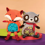 B. Toys Stuffed Happy Yappies Plush Fox/Racoon Sensory Toy for Babies 10 Months +
