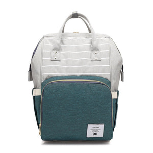 Color Block Wide Open Backpack Diaper Bag