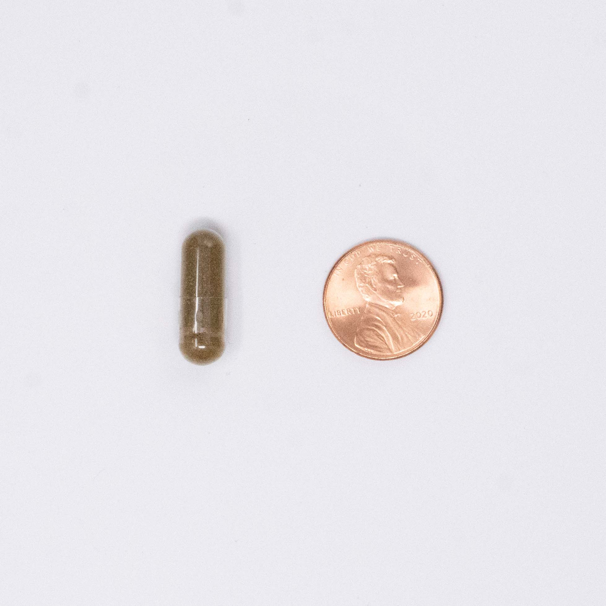 red vitamin capsule next to a penny