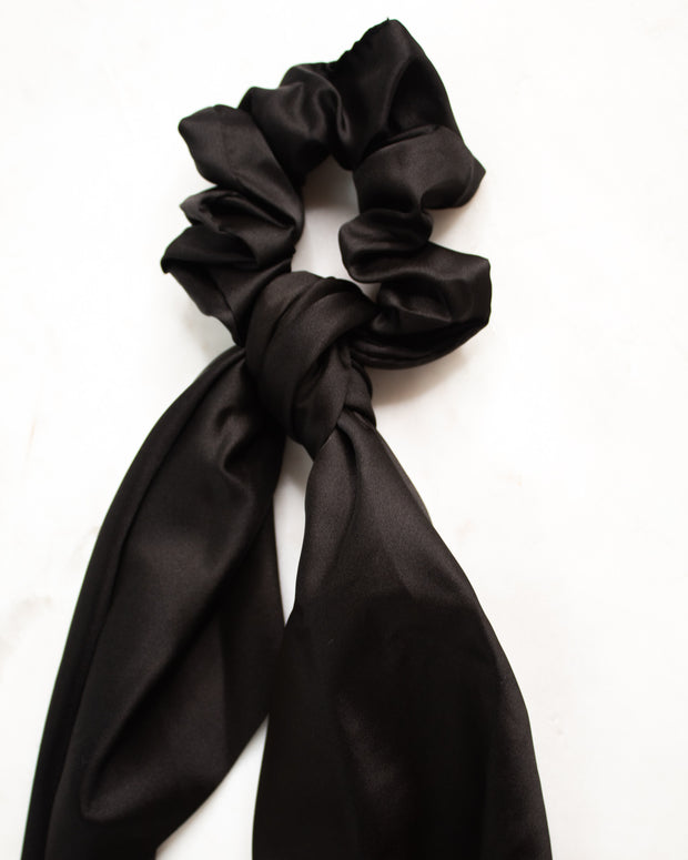 Hair Scarf - Black Satin