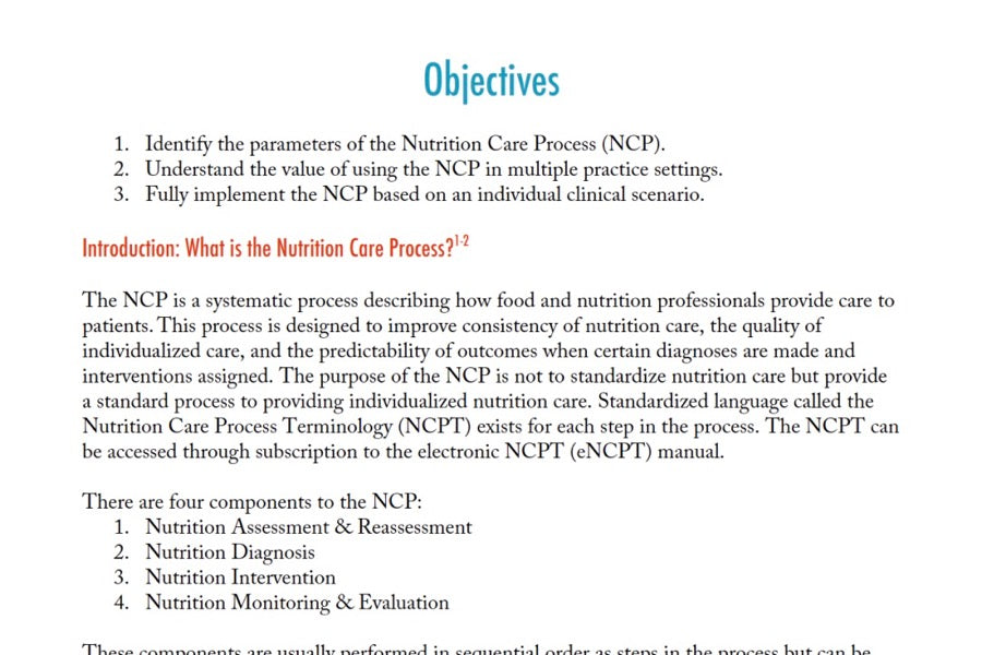 Nutrition Care Process Review Case Study | 1 CPEU