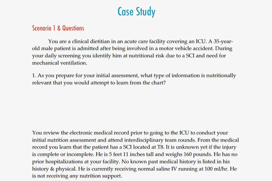 Nutrition for Spinal Cord Injury & Traumatic Brain Injury Case Study | 1.5 CPEU