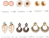 Flora Earrings Pack of 6 Pairs