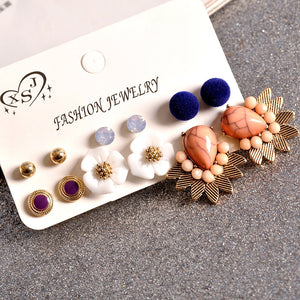 Pompous Earrings Pack of 6 Pairs