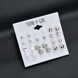 Silver Stud Earrings Set of 12 Pairs