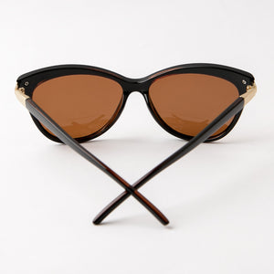 Vintage Cat Eye Polarized Sunglasses With Protective Case Brown