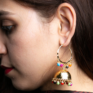 Traditional Golden Jhumkay with Multi-colour beads