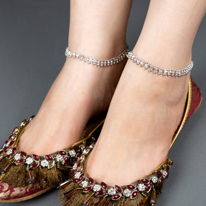 Traditional Silver Anklet Pair With Stones