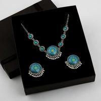 Opal Charm Necklace & Earrings Set (11 Colors Available)