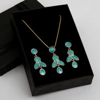 Amulet Gemstone Necklace and Earrings Set