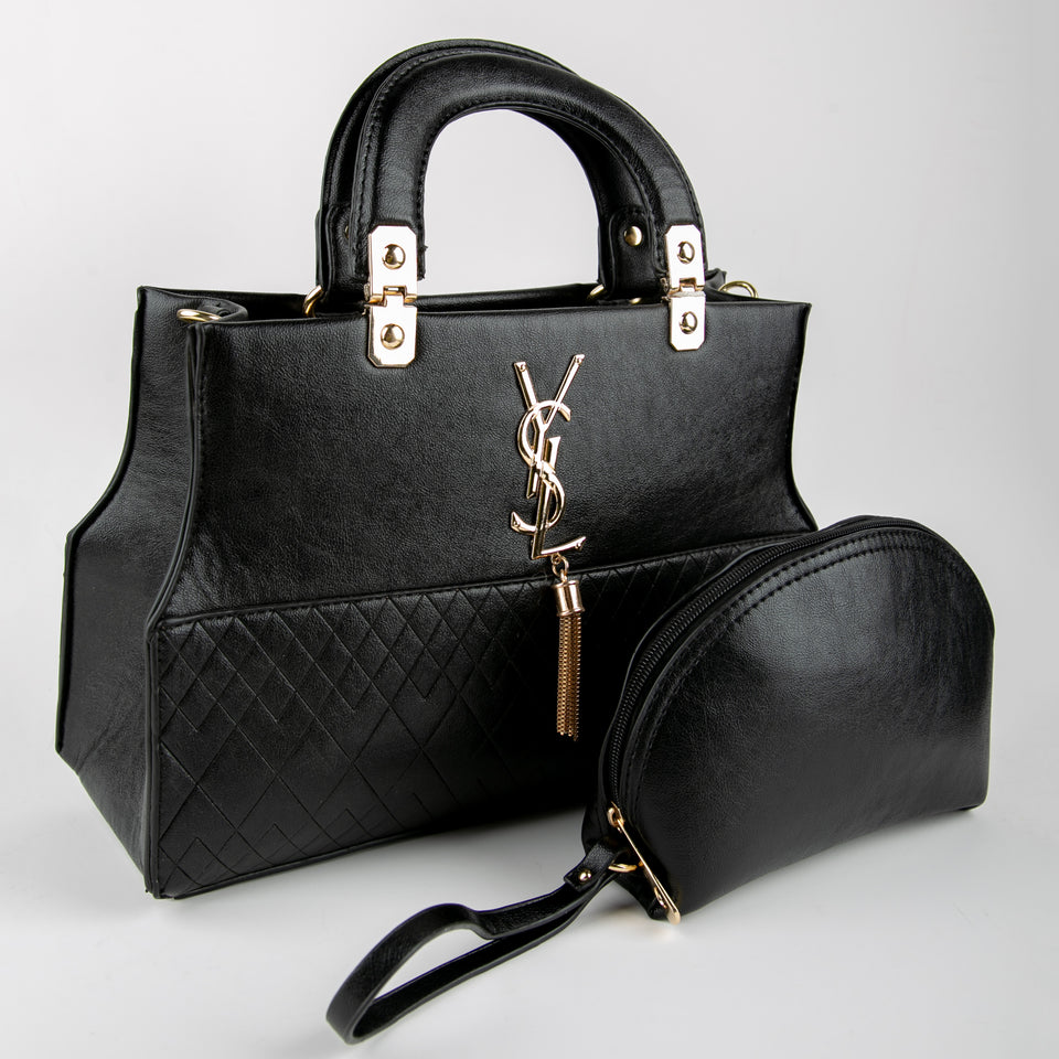 YSL Leather Bag With Clutch (Black)