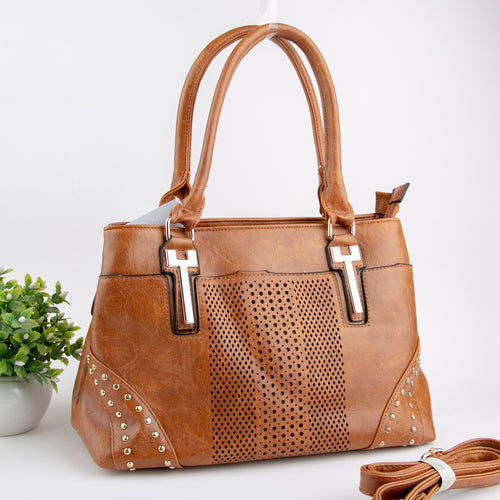 Leather Cutwork With Golden Studs Bag (Camel)