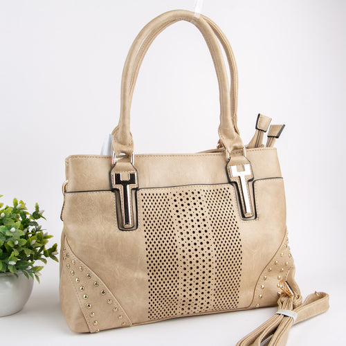 Leather Cutwork With Golden Studs Bag (Beige)