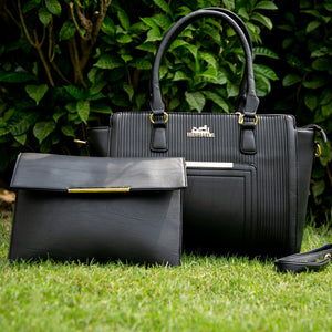Hermès Leather Bag With Clutch (Black)