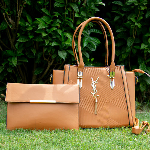 YSL Leather Bag With Clutch (Camel Colour) Vol.2