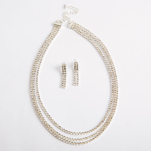 3 Layered Waves Of Style Necklace & Earrings Set