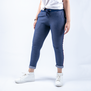 Blue Sweat Pants With Contrast Tape