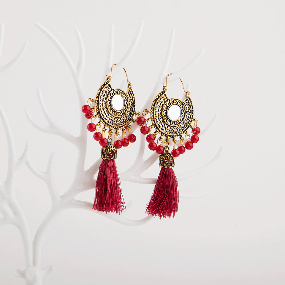 Bronze Boho Mirror Earrings With Tassel (8 Colours)