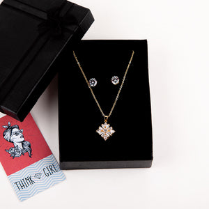 Premium Pendant Necklace & Ear Studs Set (Square)