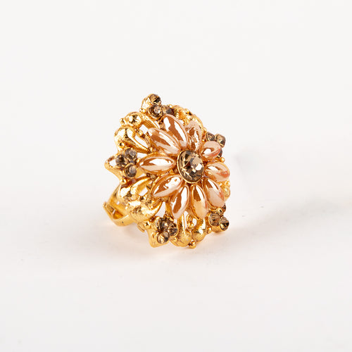 Champagne Flower Adjustable Ring