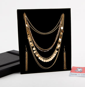 Multi Chain Champagne Necklace & Earrings Set
