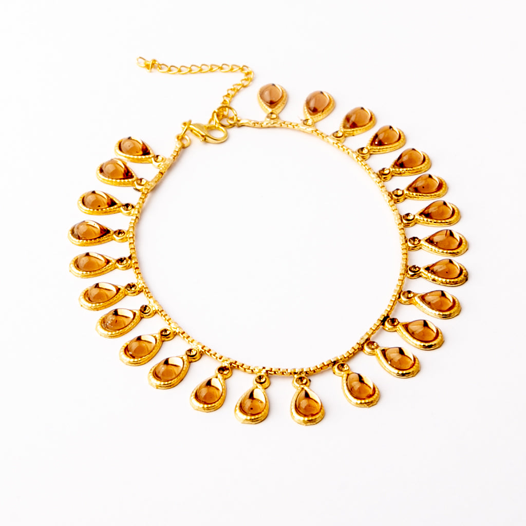 Whirlwind Trip Kundan Anklet (Champagne)